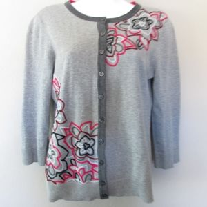 Tabitha Anthropologie Cardigan Sweater Embroidered